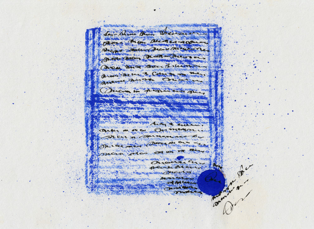 Scribbled words on a blue background